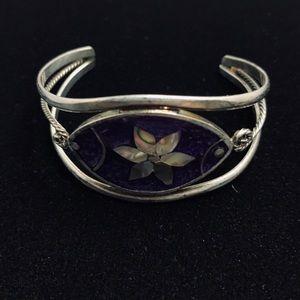 Alpaca sterling cuff bracelet purple stone